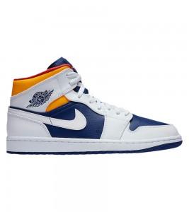 Кроссовки Air Jordan 1 Mid Royal Blue Orange