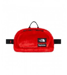 Сумка Supreme х The North Face Faux Fur Waist Bag Red