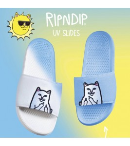 Шлепанцы RIPNDIP Lord Nermal Slides UV Activated Белые/Синие