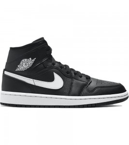 Кроссовки Air Jordan 1 Mid Black White WMNS