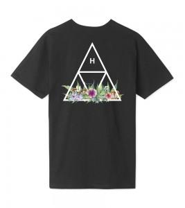 Футболка HUF T-Shirt Botanical Garden Triple Triangle Black - Фото №2
