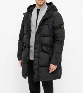 Куртка Stone Island Crinkle Reps Long Jacket Black - Фото №2